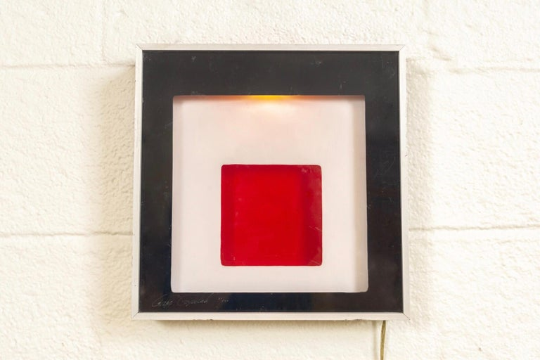 Late 20th Century Midcentury Greg Copeland Red & Black Abstract Wall Art Op Art Light Box, 1970s For Sale
