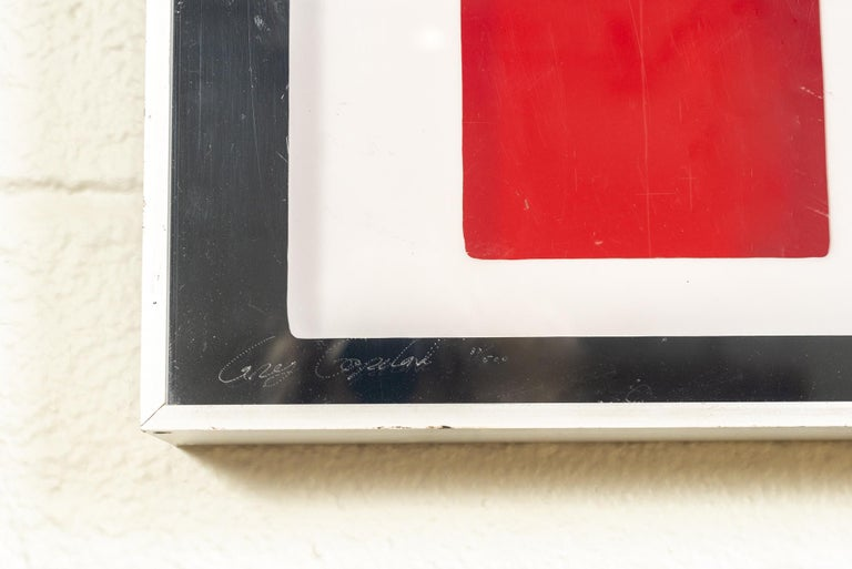 Aluminum Midcentury Greg Copeland Red & Black Abstract Wall Art Op Art Light Box, 1970s For Sale