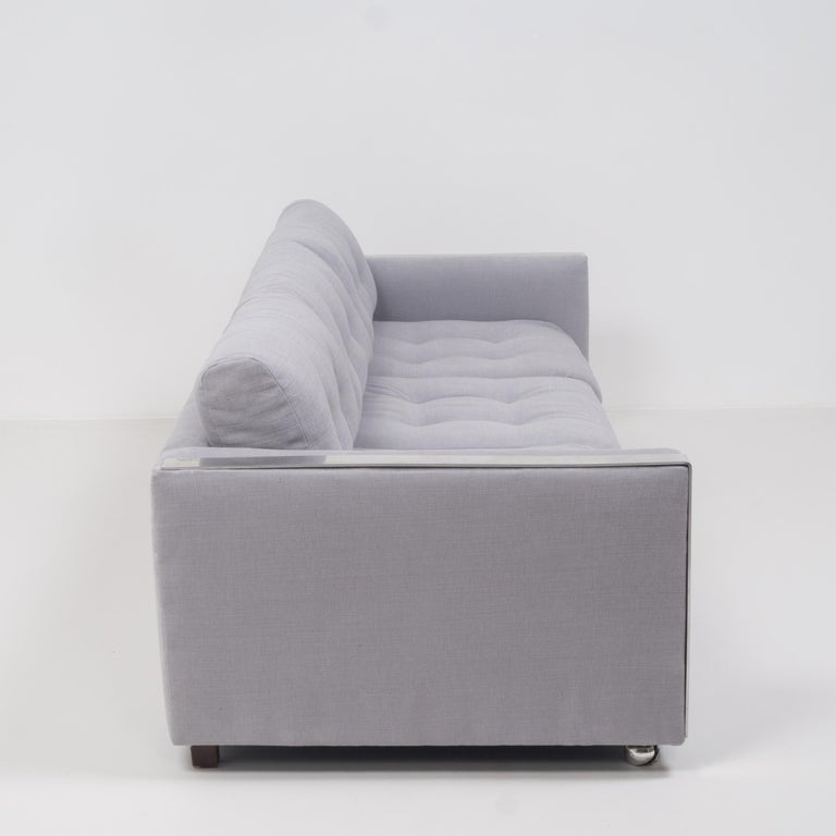 Mid-Century Modern Mid Century Grey and Chrome Frame Three-Seat Sofa in the Style of Milo Baughman For Sale