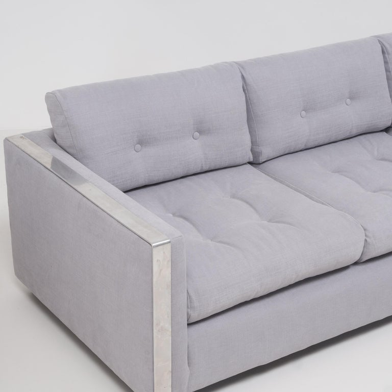 Mid-20th Century Mid Century Grey and Chrome Frame Three-Seat Sofa in the Style of Milo Baughman For Sale