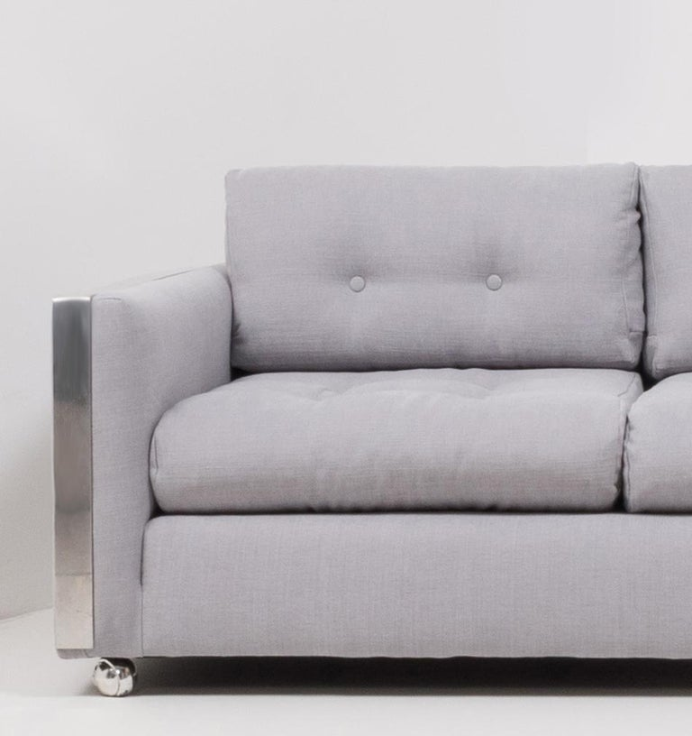 Fabric Mid Century Grey and Chrome Frame Three-Seat Sofa in the Style of Milo Baughman For Sale