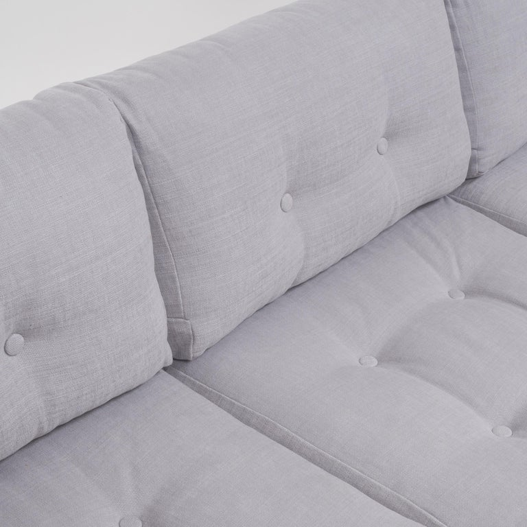 Mid Century Grey and Chrome Frame Three-Seat Sofa in the Style of Milo Baughman For Sale 1