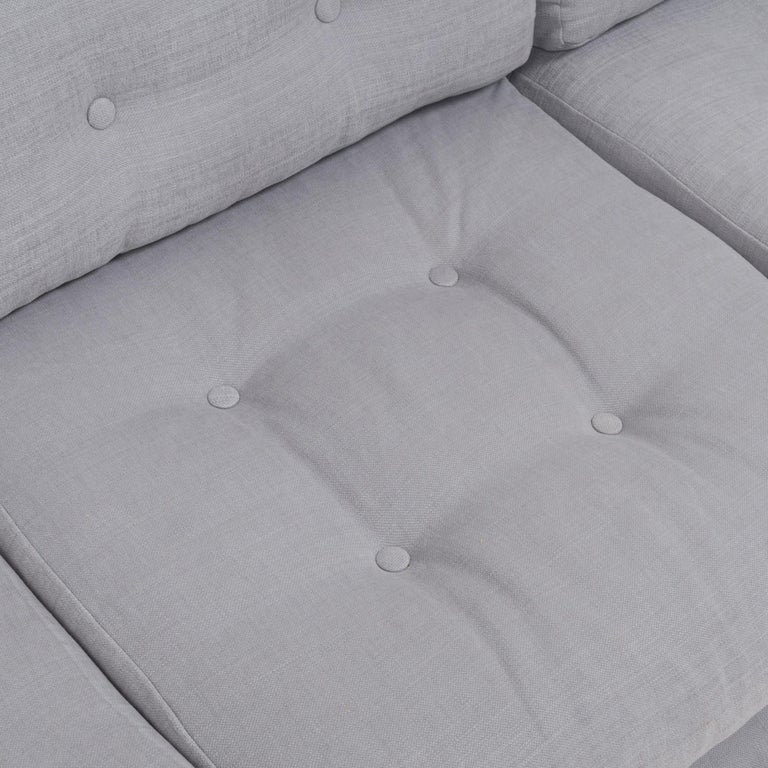 Mid Century Grey and Chrome Frame Three-Seat Sofa in the Style of Milo Baughman For Sale 2