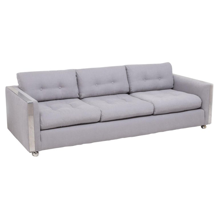 Mid Century Grey and Chrome Frame Three-Seat Sofa in the Style of Milo Baughman For Sale