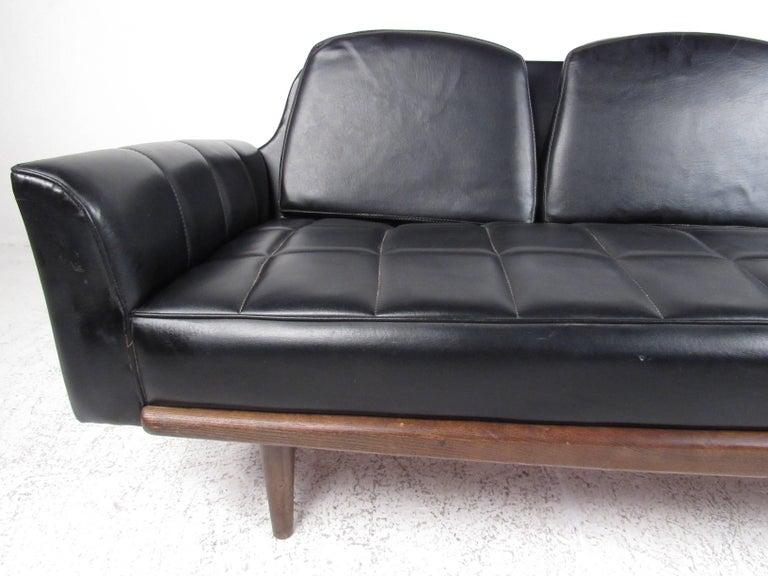 Midcentury Grid Tufted Vinyl Sofa For Sale At 1stdibs