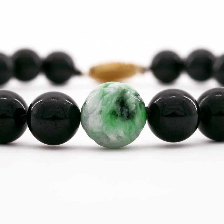 Contemporary Black Jade Necklace by Gump's with Moss on Snow Focal Point Bead For Sale
