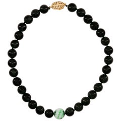 Unisex Black Jade Necklace by Gump's with Moss on Snow Focal Point Bead