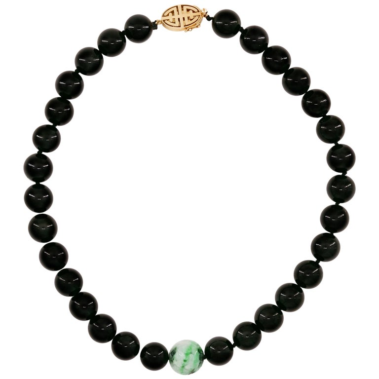 Black Jade Necklace by Gump's with Moss on Snow Focal Point Bead For Sale