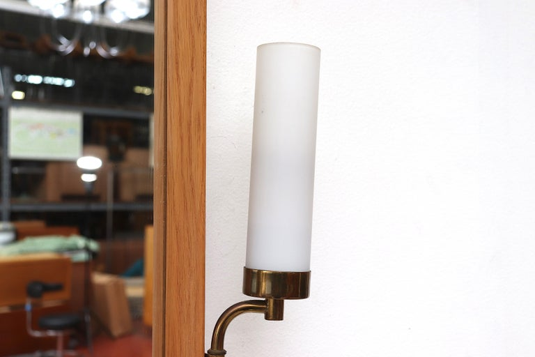 Mid-Century Modern Midcentury Hall Mirror Flanked with Milk Glass Sconces For Sale