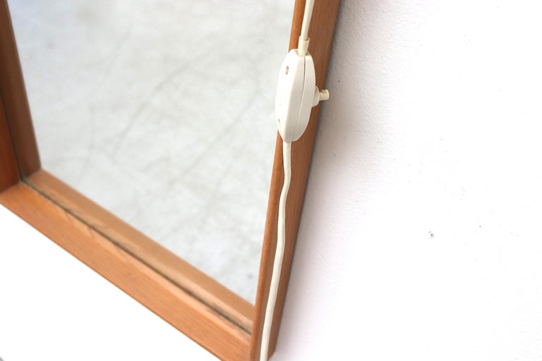 Midcentury Hall Mirror Flanked with Milk Glass Sconces In Good Condition For Sale In Los Angeles, CA