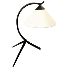 Midcentury Hammered Iron Tripod Table Lamp, 1950s, Hungary