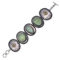 Mid-Century Hammered Silver Link Brass Bracelet Green Hardstones Maltese Cross