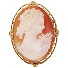 Midcentury Hand Carved Shell Cameo in 14 Karat Yellow Gold Pin Pendant