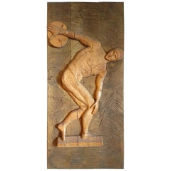 Midcentury Hand Carved Wood Panel of an Athlete