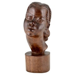 Mid Century Hand Carved Wooden Sculpture African Beauty A. Ramarson 1959
