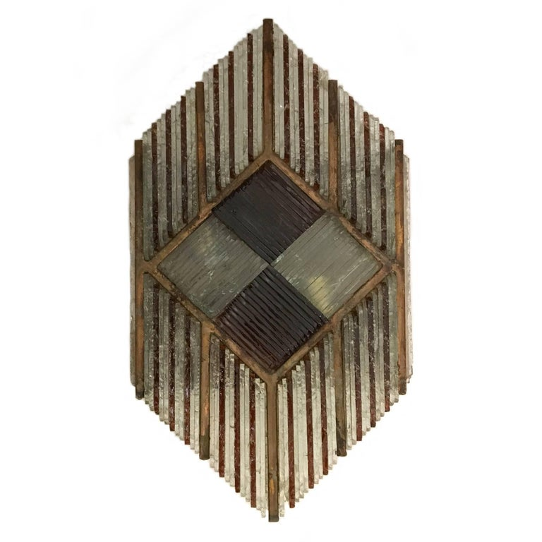Poliarte Midcentury Hand Chiselled Murano Sconce, Italy