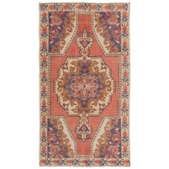 Mid-Century Hand-Knotted Tribal Wool Rug in Soft Colors. 4x7 Ft. Vintage Carpet
