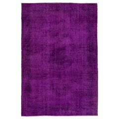 7x10.2 Ft Vintage Turkish Area Rug Overdyed in Purple Color for Modern Interiors