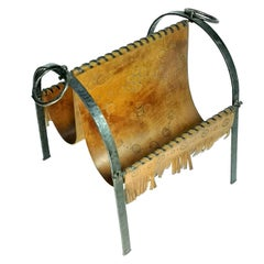 Mid Century Hand Made Cow Leather and Wrought Iron Magazine Holder, 1970's
