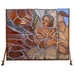 Mid Century Hand Made Glass Painted and Iron Fire Screen
