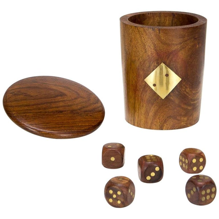 Midcentury Handmade Teak And Brass Dice Cup Denmark 1960s At 1stdibs