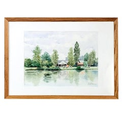 Mid-Century Hand Painted Framed Watercolor by Pol Antonis