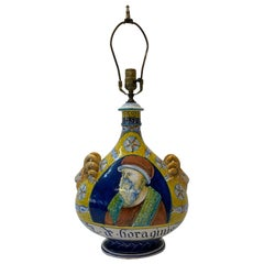 Mid Century Hand Painted Italian Table Lamp, C.1950