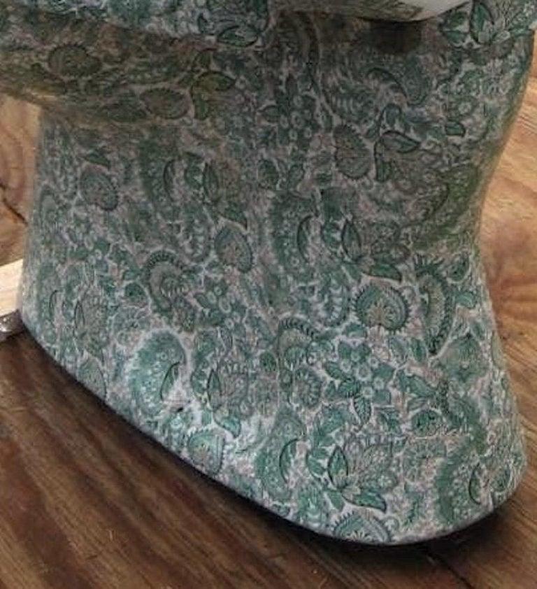 Italian Midcentury Hand Painted Richard Ginori Porcelain Commode, Toilet, Water Closet For Sale