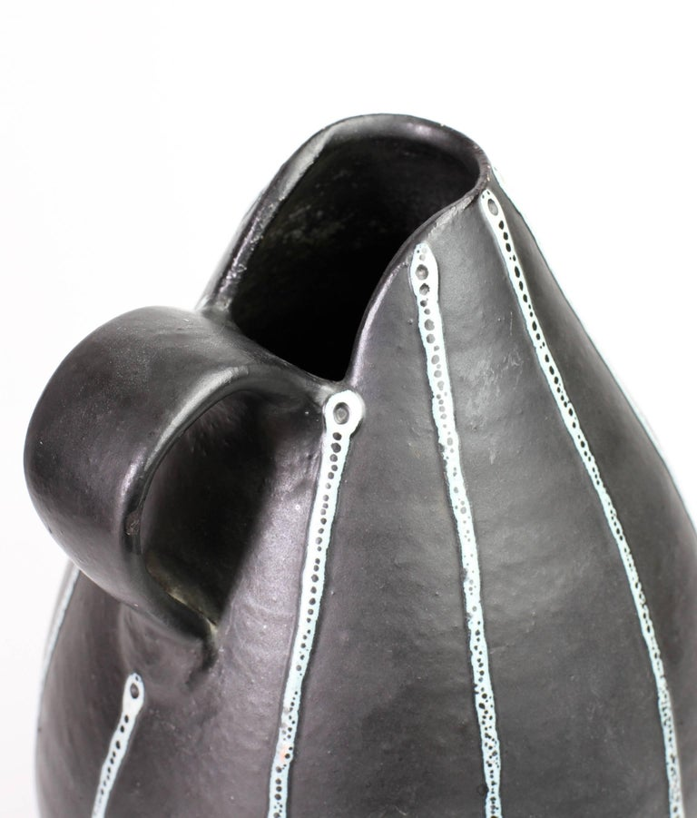 Midcentury Hand Thrown Black and White 'Pinstripe' Pitcher or Vase, circa 1950s For Sale 2