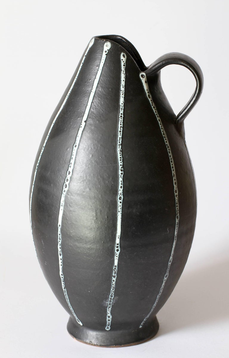 Mid-Century Modern Midcentury Hand Thrown Black and White 'Pinstripe' Pitcher or Vase, circa 1950s For Sale