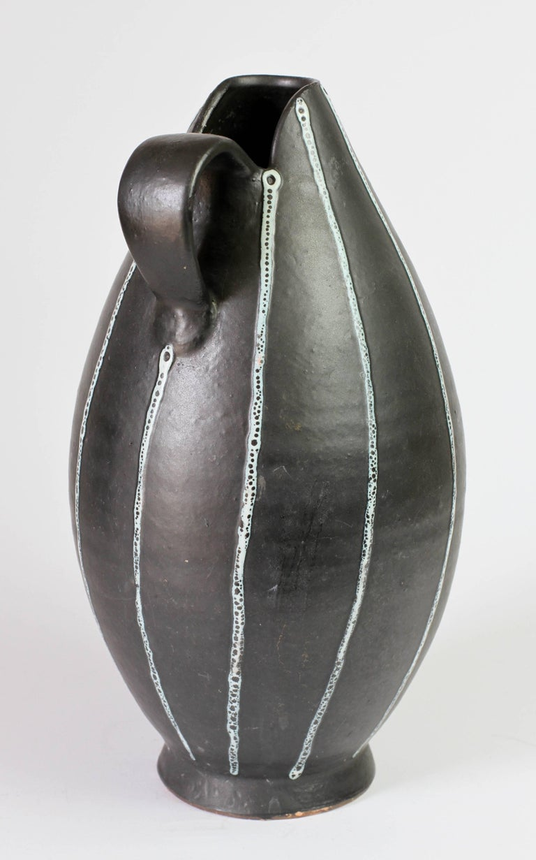 German Midcentury Hand Thrown Black and White 'Pinstripe' Pitcher or Vase, circa 1950s For Sale