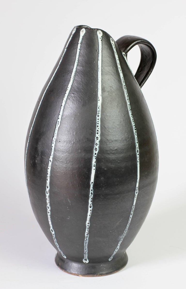 20th Century Midcentury Hand Thrown Black and White 'Pinstripe' Pitcher or Vase, circa 1950s For Sale
