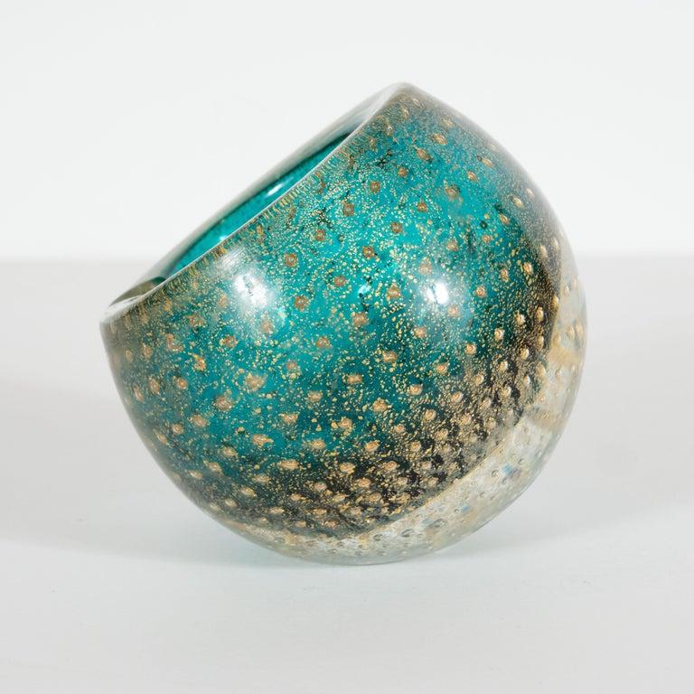 Italian Midcentury Handblown Murano Acquamarine Bowl/Ashtray with 24-Karat Gold Murines For Sale