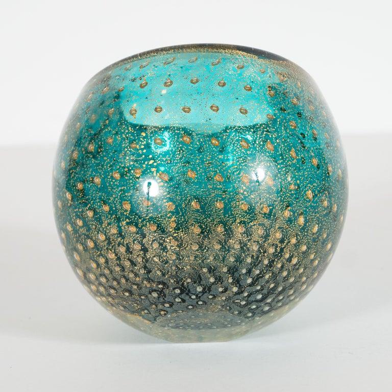 Mid-20th Century Midcentury Handblown Murano Acquamarine Bowl/Ashtray with 24-Karat Gold Murines For Sale