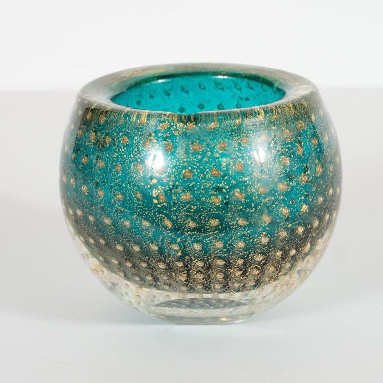 Midcentury Handblown Murano Acquamarine Bowl/Ashtray with 24-Karat Gold Murines For Sale 1
