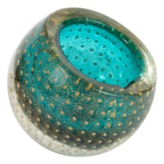 Midcentury Handblown Murano Acquamarine Bowl/Ashtray with 24-Karat Gold Murines