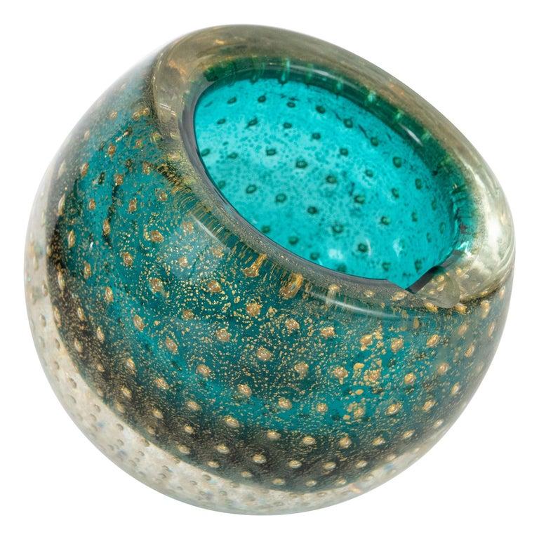Midcentury Handblown Murano Acquamarine Bowl/Ashtray with 24-Karat Gold Murines For Sale