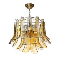 Mid Century Handblown Murano Amber Glass & Brass Feather Chandelier