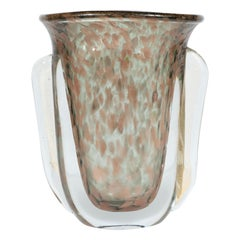 Midcentury Handblown Murano Glass Vase with 24k Yellow and Rose Gold by Vistosi