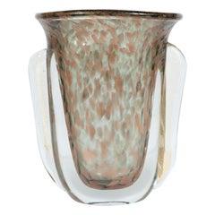 Midcentury Handblown Murano Glass Vase with 24k Yellow and Rose Gold by Vistosi