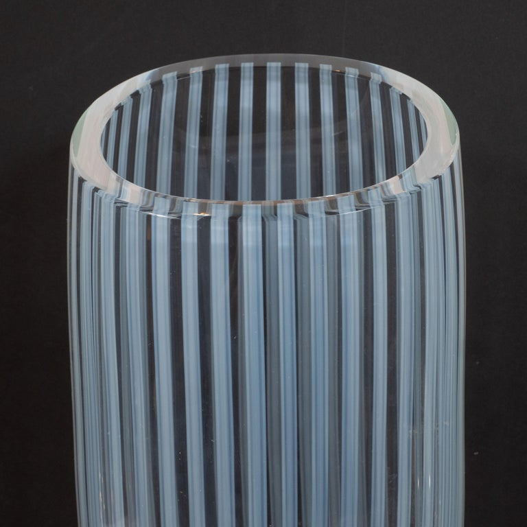 Mid-Century Modern Midcentury Hand Blown Murano Striated Glass Vase with 24kt Gold Flecks by Seguso For Sale