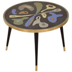 Midcentury Handcrafted Ceramic Tile Mosaic, Brass and Wood Coffee Table, 1950s