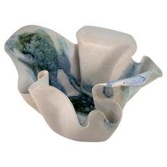 Mid Century Handkerchief Ceramic Vase