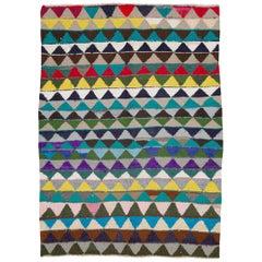 Mid-Century Handmade Persian Colorful Flatweave Rug