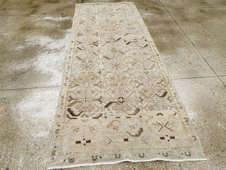 Hand-Knotted Midcentury Handmade Persian Runner in Beige, Purple, and Blue For Sale