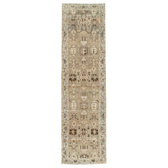 Midcentury Handmade Persian Runner in Taupe, Light Blue, and Grey