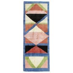 Midcentury Handmade Persian Art Deco Runner Inspired By Edward McKnight Kauffer