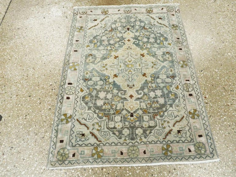 Hand-Knotted Midcentury Handmade Persian Small Rug in Slate Blue, Sand and Nude For Sale