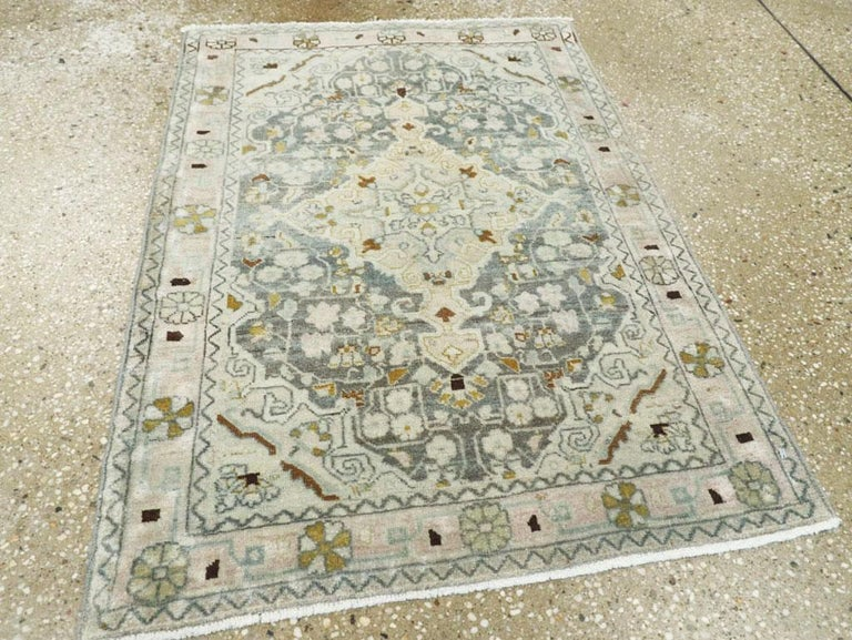 Midcentury Handmade Persian Small Rug in Slate Blue, Sand and Nude In Good Condition For Sale In New York, NY