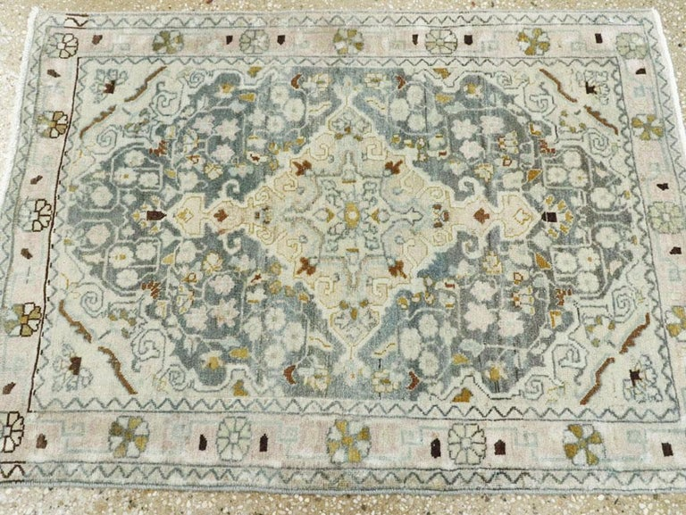 Midcentury Handmade Persian Small Rug in Slate Blue, Sand and Nude For Sale 2
